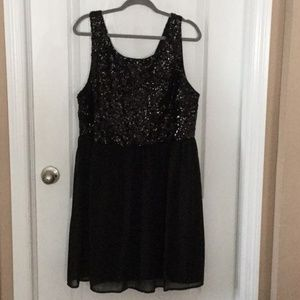 "Black Sequined/Sparkly ""Forever 21"" Party Dress-2x"